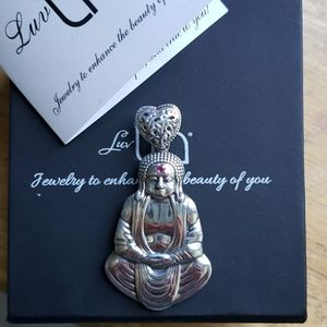 LuvTia Buddah Pendant with Sapphire and Ruby